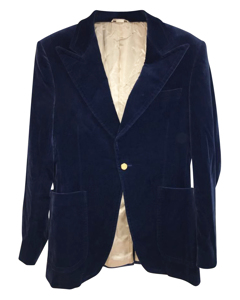 Blue Velvet Notched Lapel Formal Blazer
