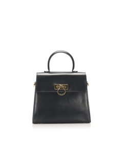 Ferragamo Gancini Leather Satchel Black