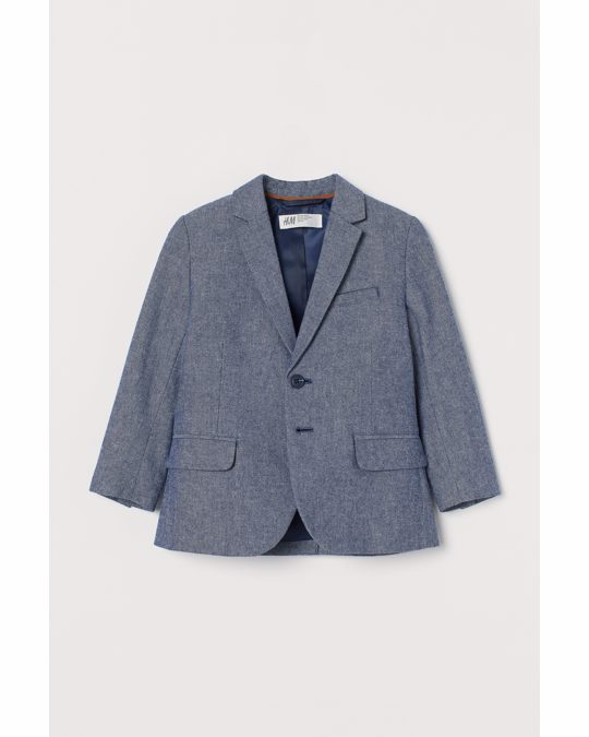 H&M Elbow-patch Cotton Jacket Navy Blue Marl