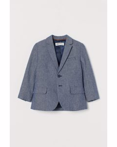 Elbow-patch Cotton Jacket Navy Blue Marl