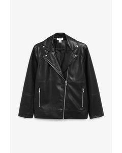 Faux Leather Biker Jacket Black Magic