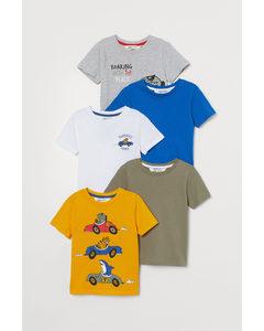 5er-Pack Baumwoll-T-Shirts Gelb/Rallyetiere