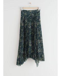 Pleated Asymmetric Midi Skirt Green Print