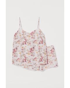 Pyjamas Med Linne Och Shorts Ljusrosa/blommig