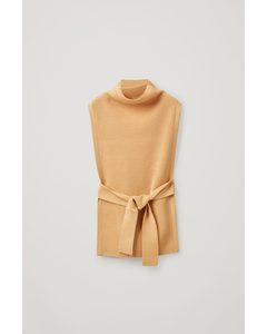 Wool Tabard Knitted Vest Beige