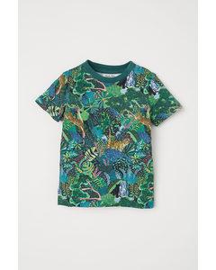 T-Shirt mit Druck Grün/Dschungeltiere