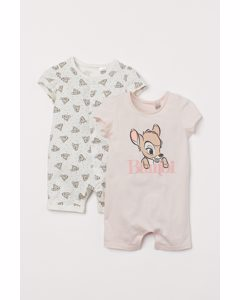 Set Van 2 Pyjamapakjes Poederroze/bambi