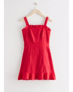 Linen Ruffle Mini Dress Red