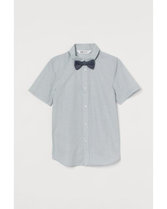 H&M Hemd mit Krawatte/Fliege Hellgrau/Fliege