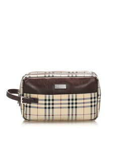 Burberry House Check Canvas Clutch Bag Brown