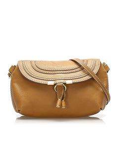 Chloe Marcie Leather Crossbody Bag Brown