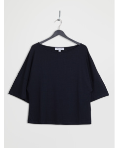 3/4 Sleeve Boat Neck Top Navy