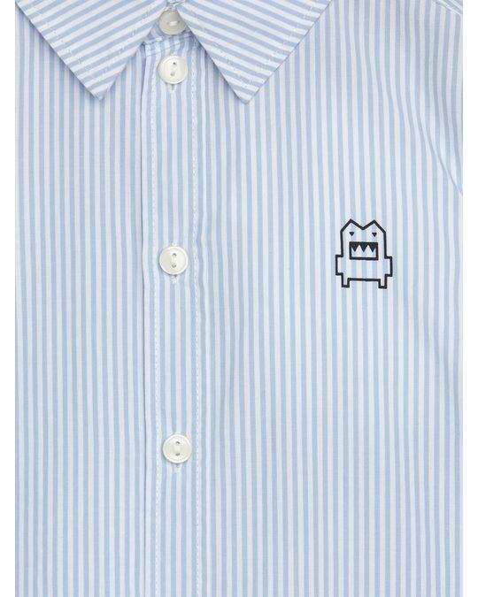 Arket Popeline-Hemd mit aufgestickten Monstern Blau/Weiß