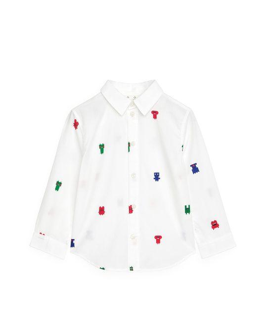 Arket Popeline-Hemd mit aufgestickten Monstern Weiß