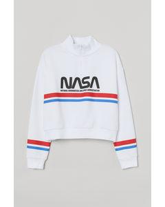 Sweatshirt mit hohem Kragen Weiß/NASA