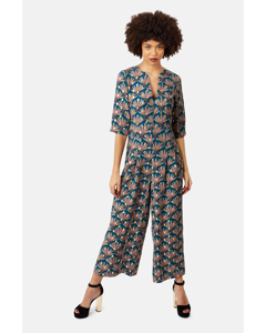 Teal Green Printed V-neck Betty Jumpsuit