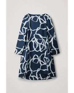 Voluminous A-line Dress With Seam Details Navy / White