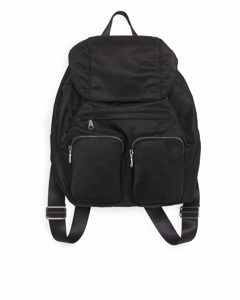Multi Pocket Nylon Backpack Black
