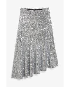 Midi Sequin Skirt Silver Sequins