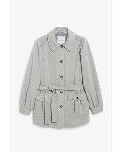 Puff Sleeve Coat Grey
