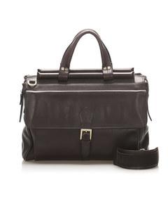 Ferragamo Gancini Leather Briefcase Brown