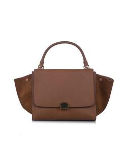 Celine Medium Trapeze Leather Satchel Brown