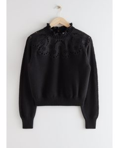 Wool Blend Scalloped Sweater Black