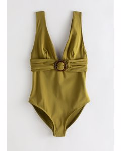 O-ring Belted Swimsuit Green