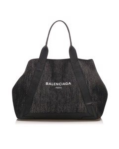 Balenciaga Denim Cabas Tote Bag Blue