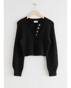 Buttoned Alpaca Blend Knit Sweater Black