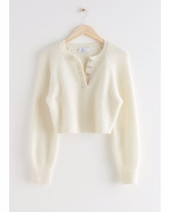 Buttoned Alpaca Blend Knit Sweater Creme