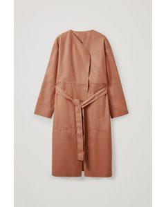 Collarless Leather Coat Beige
