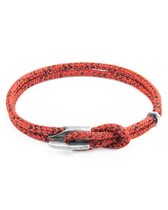 Anchor & Crew Red Noir Padstow Silver And Rope Bracelet