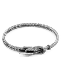 Anchor & Crew Classic Grey Padstow Silver And Rope Bracelet