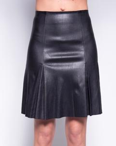 Stretch Lamb Leather Skirt With Back Zip - Black