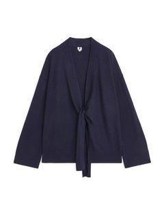 Boiled Wool Wrap Cardigan Dark Blue