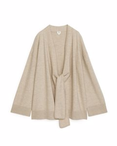 Boiled Wool Wrap Cardigan Beige