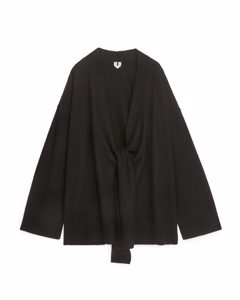 Boiled Wool Wrap Cardigan Black
