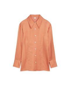 Fitted Satin Shirt Dusty Orange