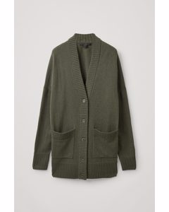 Lambswool Oversized Cardigan Olive Green