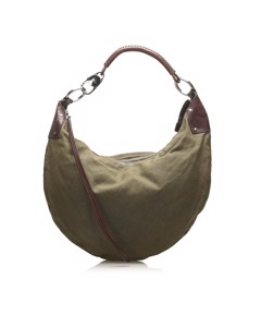 Gucci Half Moon Canvas Shoulder Bag Brown