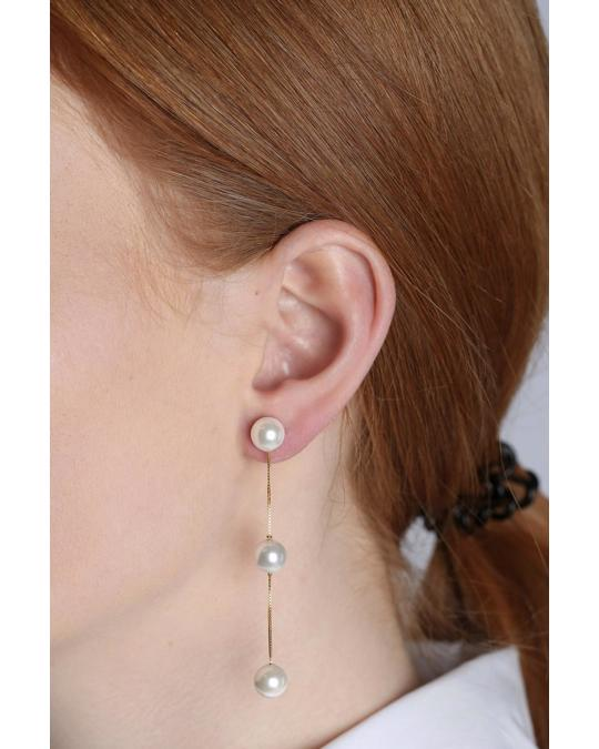 Syster P Pearly Triple Pearl Earrings Gold