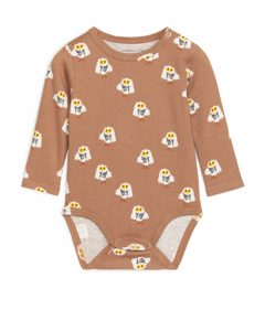 Long-sleeved Bodysuit Brown/owl Print