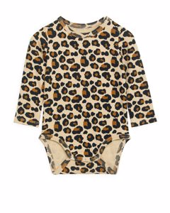 Long-sleeved Bodysuit Beige/leopard Print
