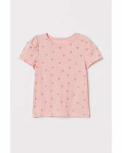 Jerseyshirt mit Puffärmeln Hellrosa/Kirschen