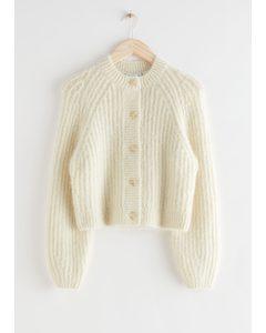 Oversized Fuzzy Rib Knit Cardigan Creme