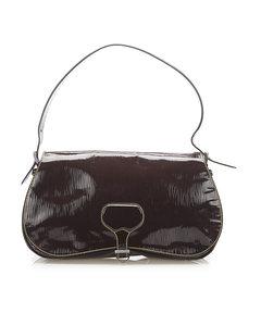 Prada Saffiano Vernice Shoulder Bag Brown