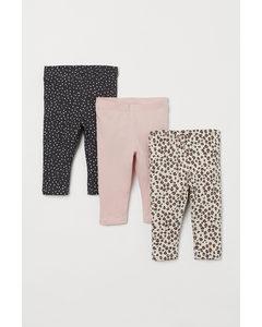 3er-Pack Leggings Hellbeige/Leopardenmuster
