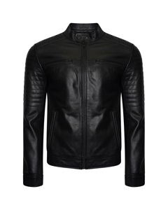 Men's Real Leather Racer Jacket With Ribbed Shoulders