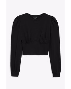 Long-sleeve Corset Top Black